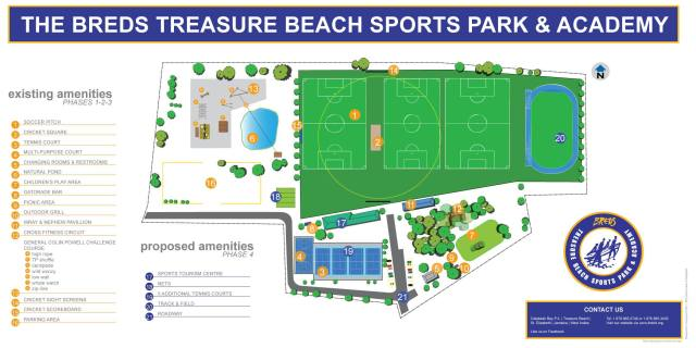Site layout for the Breds Treasure Beach Sports Park and Academy.