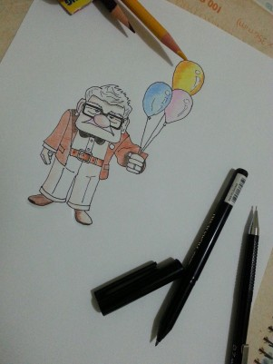 My drawing of Carl Fredricksen from Up (2009 film).