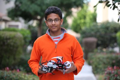 Braigo Labs' young CEO Shubham Banerjee with his DIY braille printer invention Photo credit: Niloy Banerjee