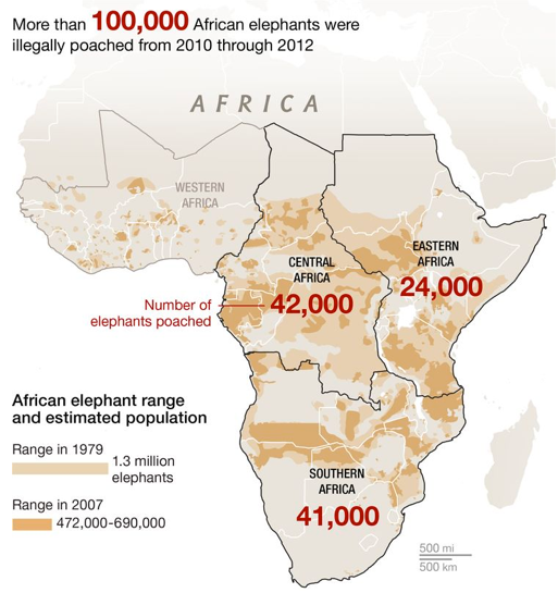 Map showing number of elephants poached illegally between 2010 and 2012