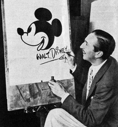 Walt Disney drawing the famous mouse that started it all