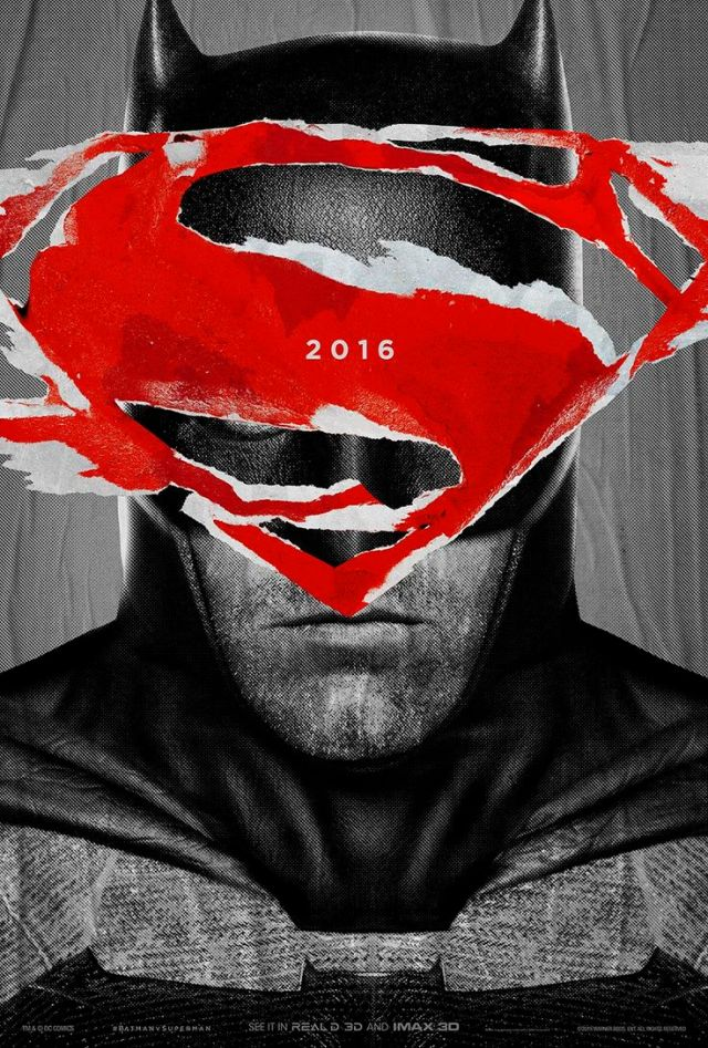 The Batman poster features a rough cut out of the Superman logo