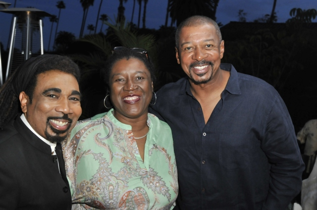 Actor Jeffrey Anderson-Gunter (left), Film Commissioner Carole Beckford (center), and Film Director Robert Townsend (right) at Los Angeles launch for the inaugural Jamaica Film Festival in March 2015