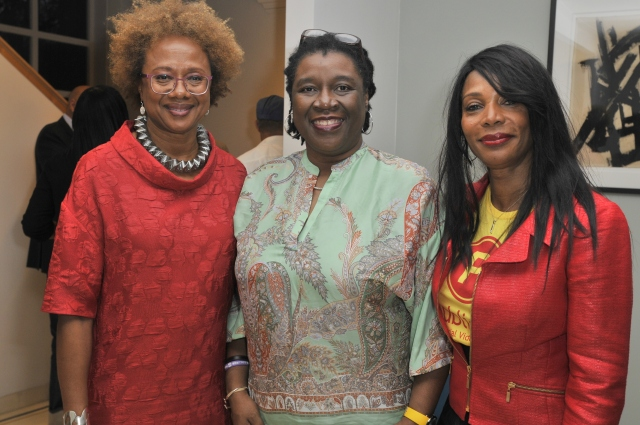Author/filmmaker/media entrepreneur Paula Madison (left), Film Commissioner Carole Beckford (centre), and Hon. Consul Lorna Johnson (right) at LA launch | Source: Carole Beckford