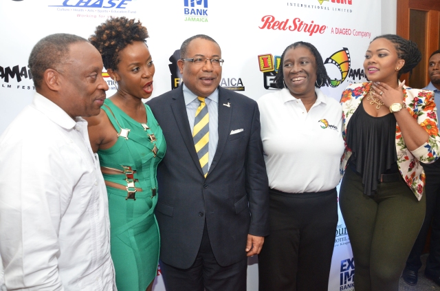 Carole, event hosts, and guests at the Kingston leg of the Jamaica Film Festival launch in June 10, 2015 | Source: Carole Beckford