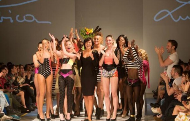 Lubica surrounded by applause at the end of her show at Fashion Art Toronto (FAT) 2014