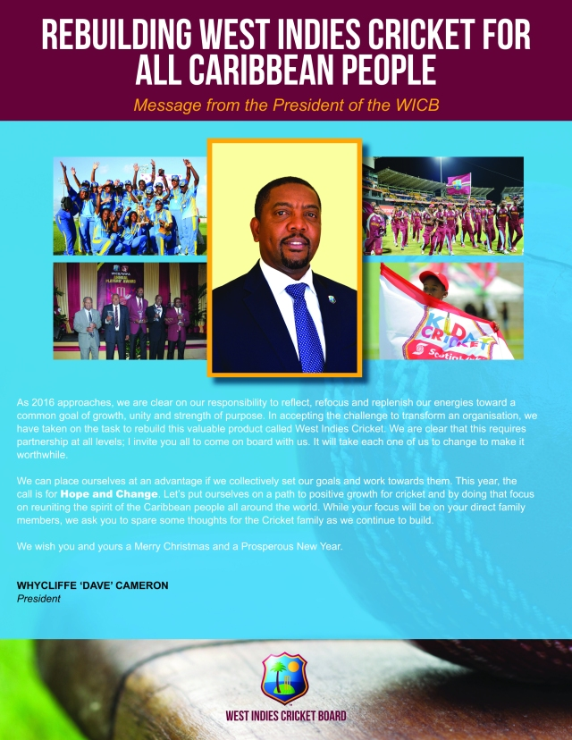 WICB's President's annual Christmas message